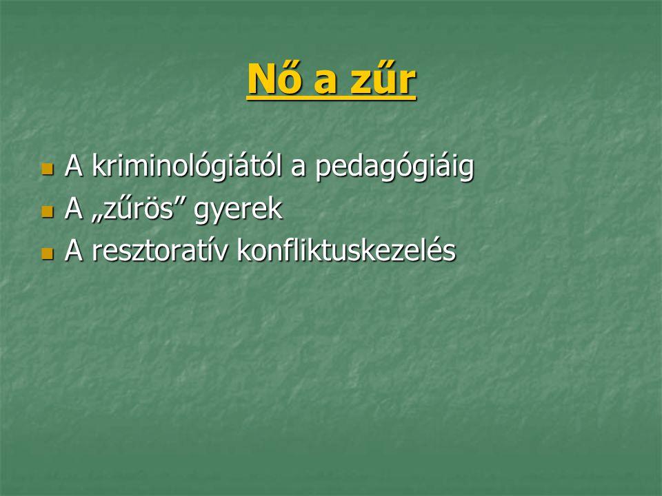 """Nő a zűr A kriminológiától a pedagógiáig A kriminológiától a pedagógiáig A """"zűrös"""" gyerek A """"zűrös"""" gyerek A resztoratív konfliktuskezelés A resztorat"""