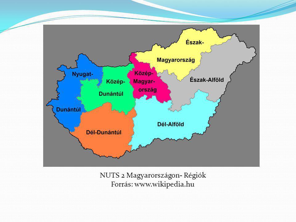NUTS 2 Magyarországon- Régiók Forrás: www.wikipedia.hu