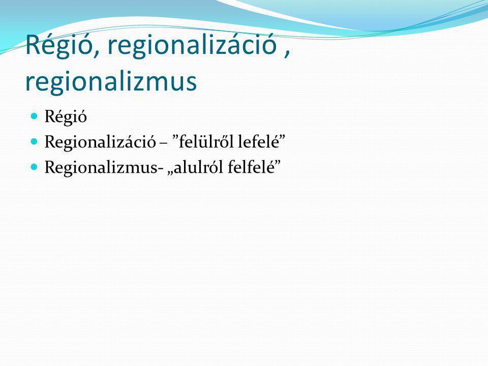 """Régió, regionalizáció, regionalizmus Régió Regionalizáció – """"felülről lefelé"""" Regionalizmus- """"alulról felfelé"""""""