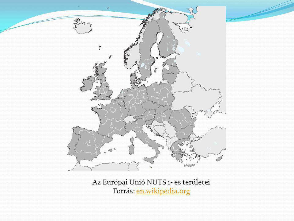 Az Európai Unió NUTS 1- es területei Forrás: en.wikipedia.orgen.wikipedia.org