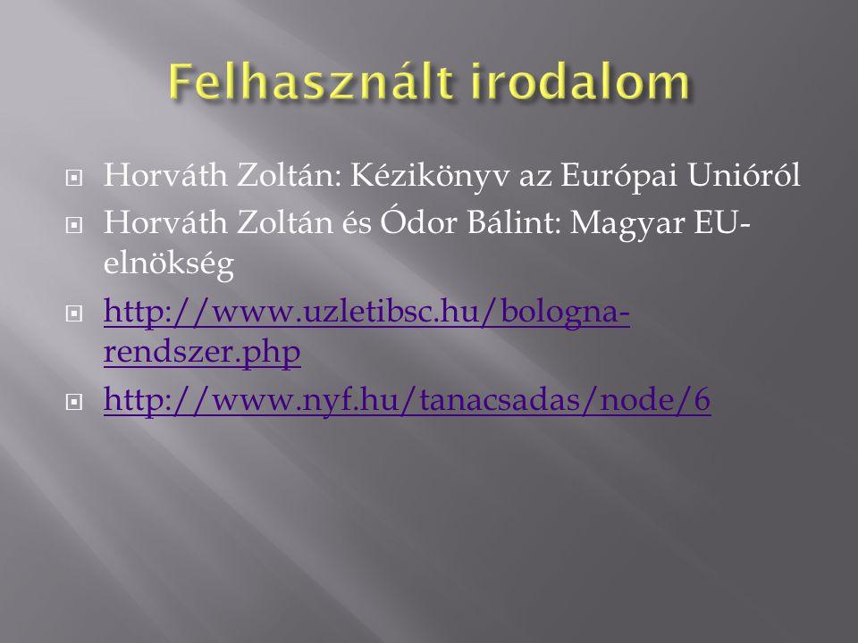  Horváth Zoltán: Kézikönyv az Európai Unióról  Horváth Zoltán és Ódor Bálint: Magyar EU- elnökség  http://www.uzletibsc.hu/bologna- rendszer.php http://www.uzletibsc.hu/bologna- rendszer.php  http://www.nyf.hu/tanacsadas/node/6 http://www.nyf.hu/tanacsadas/node/6