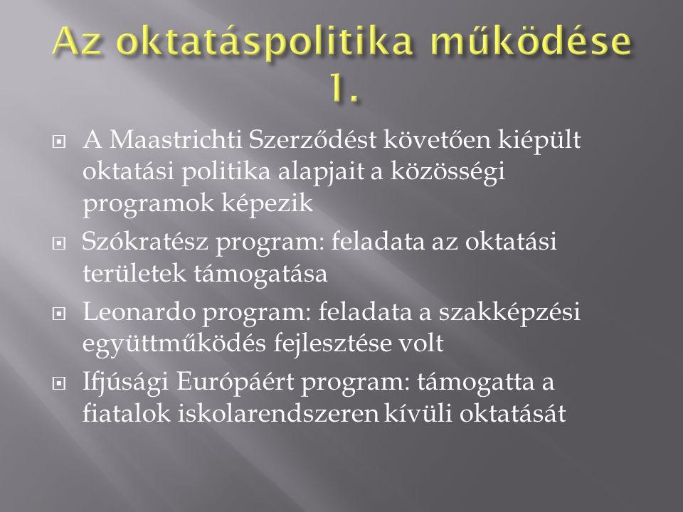  A Maastrichti Szerződést követően kiépült oktatási politika alapjait a közösségi programok képezik  Szókratész program: feladata az oktatási területek támogatása  Leonardo program: feladata a szakképzési együttműködés fejlesztése volt  Ifjúsági Európáért program: támogatta a fiatalok iskolarendszeren kívüli oktatását