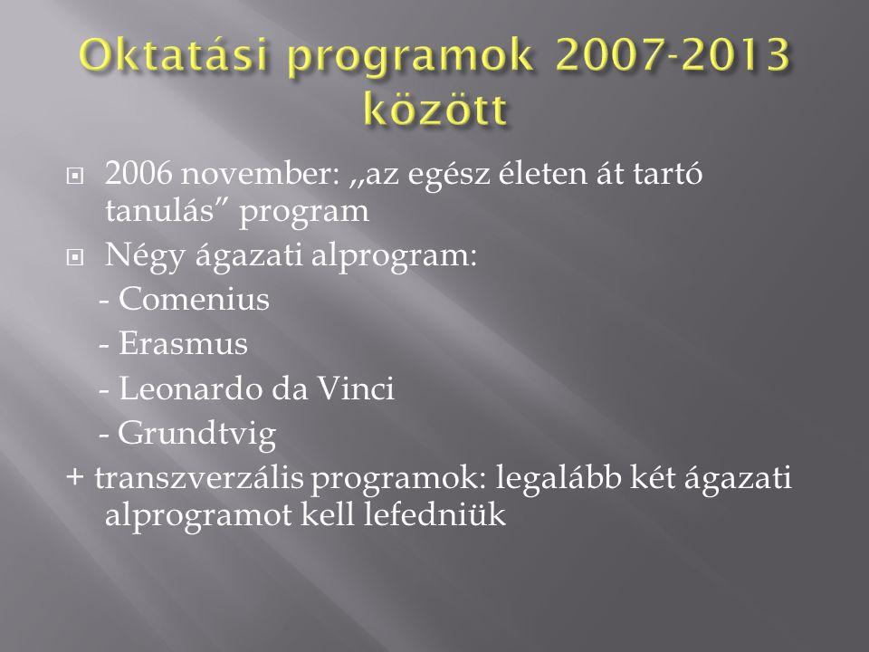  2006 november:,,az egész életen át tartó tanulás program  Négy ágazati alprogram: - Comenius - Erasmus - Leonardo da Vinci - Grundtvig + transzverzális programok: legalább két ágazati alprogramot kell lefedniük