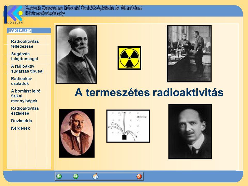 TARTALOM Radioaktivitás felfedezése Sugárzás tulajdonságai A radioaktív sugárzás típusai Radioaktív családok A bomlást leíró fizikai mennyiségek Radioaktivitás észlelése Dozimetria Kérdések A termeszétes radioaktivitás