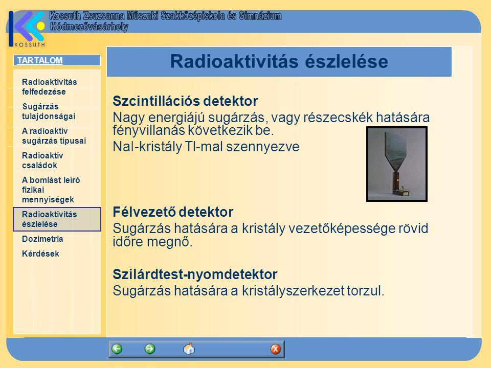 TARTALOM Radioaktivitás felfedezése Sugárzás tulajdonságai A radioaktív sugárzás típusai Radioaktív családok A bomlást leíró fizikai mennyiségek Radioaktivitás észlelése Dozimetria Kérdések Radioaktivitás észlelése Szcintillációs detektor Nagy energiájú sugárzás, vagy részecskék hatására fényvillanás következik be.