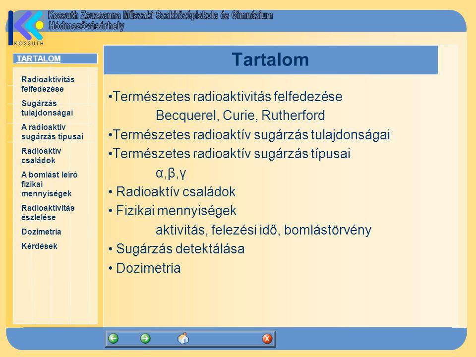 TARTALOM Radioaktivitás felfedezése Sugárzás tulajdonságai A radioaktív sugárzás típusai Radioaktív családok A bomlást leíró fizikai mennyiségek Radioaktivitás észlelése Dozimetria Kérdések Tartalom Természetes radioaktivitás felfedezése Becquerel, Curie, Rutherford Természetes radioaktív sugárzás tulajdonságai Természetes radioaktív sugárzás típusai α,β,γ Radioaktív családok Fizikai mennyiségek aktivitás, felezési idő, bomlástörvény Sugárzás detektálása Dozimetria