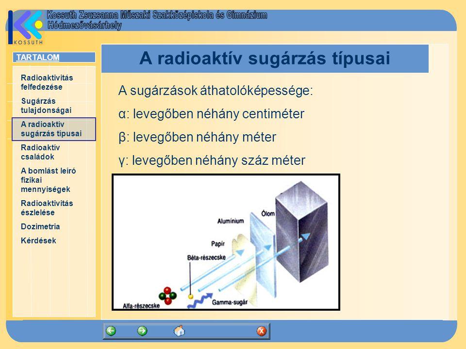 TARTALOM Radioaktivitás felfedezése Sugárzás tulajdonságai A radioaktív sugárzás típusai Radioaktív családok A bomlást leíró fizikai mennyiségek Radio