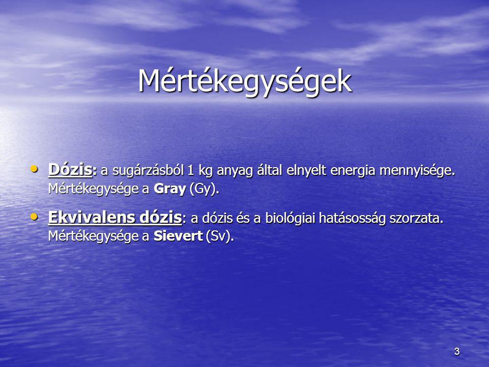3 Mértékegységek Dózis : a sugárzásból 1 kg anyag által elnyelt energia mennyisége.