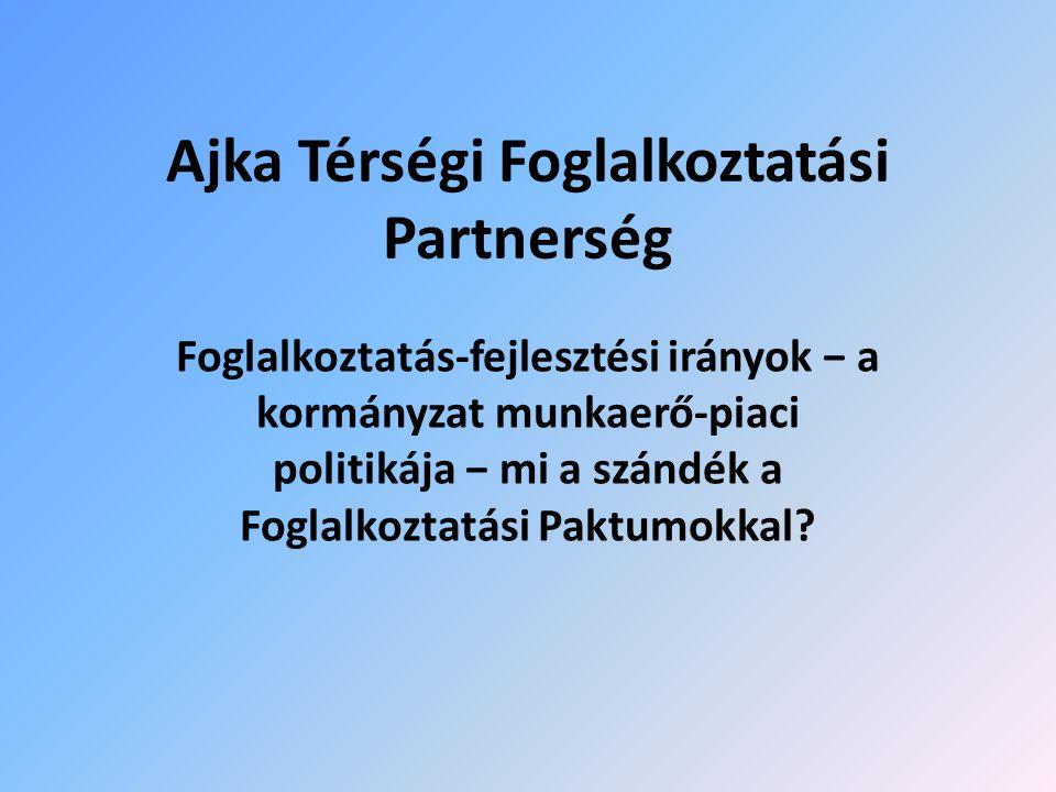 Ajka Térségi Foglalkoztatási Partnerség Foglalkoztatás-fejlesztési irányok − a kormányzat munkaerő-piaci politikája − mi a szándék a Foglalkoztatási Paktumokkal?