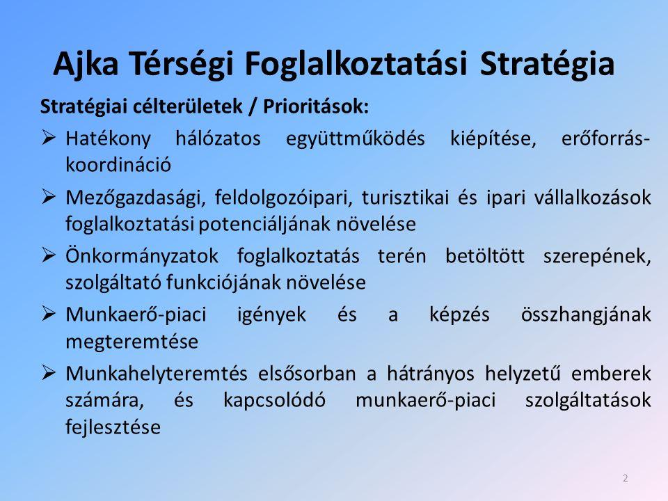 Ajka Térségi Foglalkoztatási Stratégia Stratégiai célterületek / Prioritások:  Hatékony hálózatos együttműködés kiépítése, erőforrás- koordináció  Mezőgazdasági, feldolgozóipari, turisztikai és ipari vállalkozások foglalkoztatási potenciáljának növelése  Önkormányzatok foglalkoztatás terén betöltött szerepének, szolgáltató funkciójának növelése  Munkaerő-piaci igények és a képzés összhangjának megteremtése  Munkahelyteremtés elsősorban a hátrányos helyzetű emberek számára, és kapcsolódó munkaerő-piaci szolgáltatások fejlesztése 2
