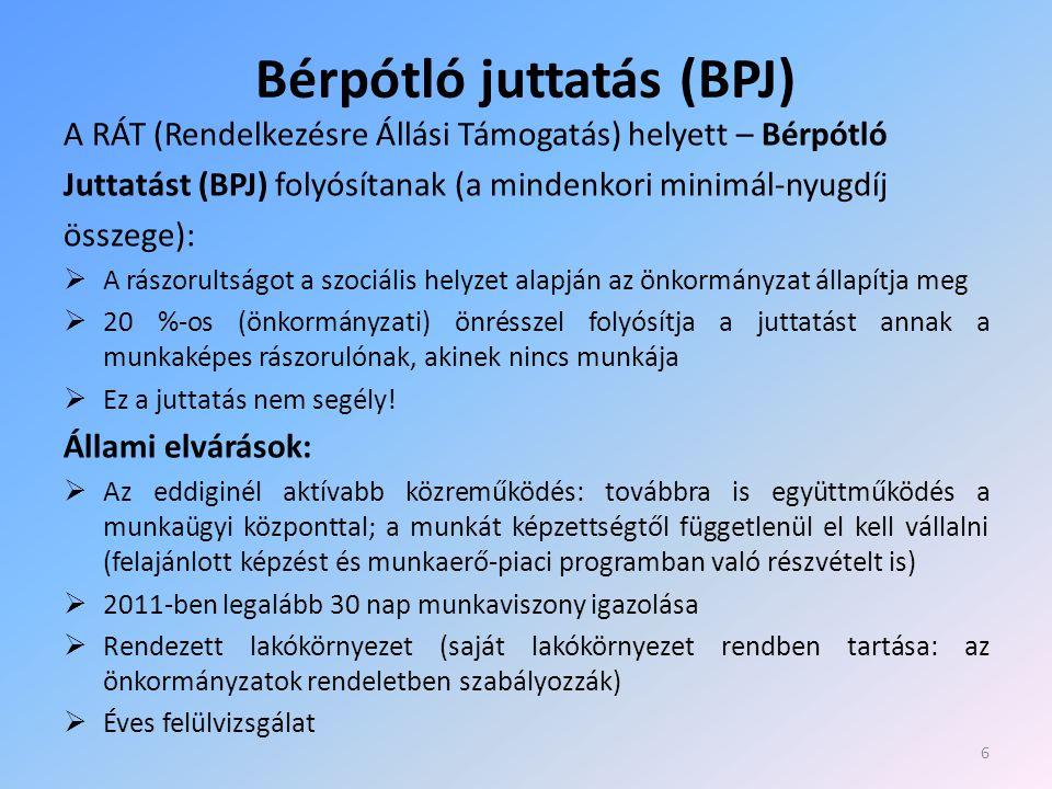 Bérpótló juttatás (BPJ) A RÁT (Rendelkezésre Állási Támogatás) helyett – Bérpótló Juttatást (BPJ) folyósítanak (a mindenkori minimál-nyugdíj összege):  A rászorultságot a szociális helyzet alapján az önkormányzat állapítja meg  20 %-os (önkormányzati) önrésszel folyósítja a juttatást annak a munkaképes rászorulónak, akinek nincs munkája  Ez a juttatás nem segély.