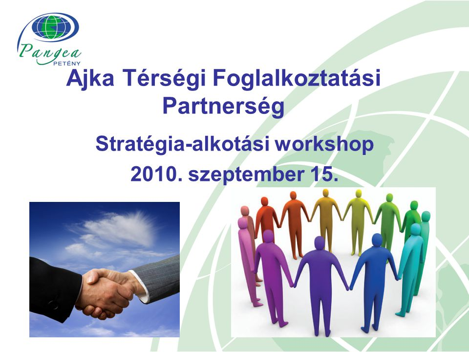 A helyzetelemzés bemutatása A helyzetelemzés forrásai:  Helyi partnerség kialakulására előkészítő workshopok  Hálózatépítési tréning  5 db tanulmány a különböző szektorok jellemzésére (ipar, mezőgazdaság, turizmus, szakképzés – felnőttképzés, megváltozott munkaképességűek helyzete)  Az Állami Foglalkoztatási Szolgálat (www.afsz.hu és a Központi Adattár, valamint a Nyugat-dunántúli Regionális Munkaügyi Központ Ajkai Kirendeltségének statisztikai adataiwww.afsz.hu  KSH adatok.