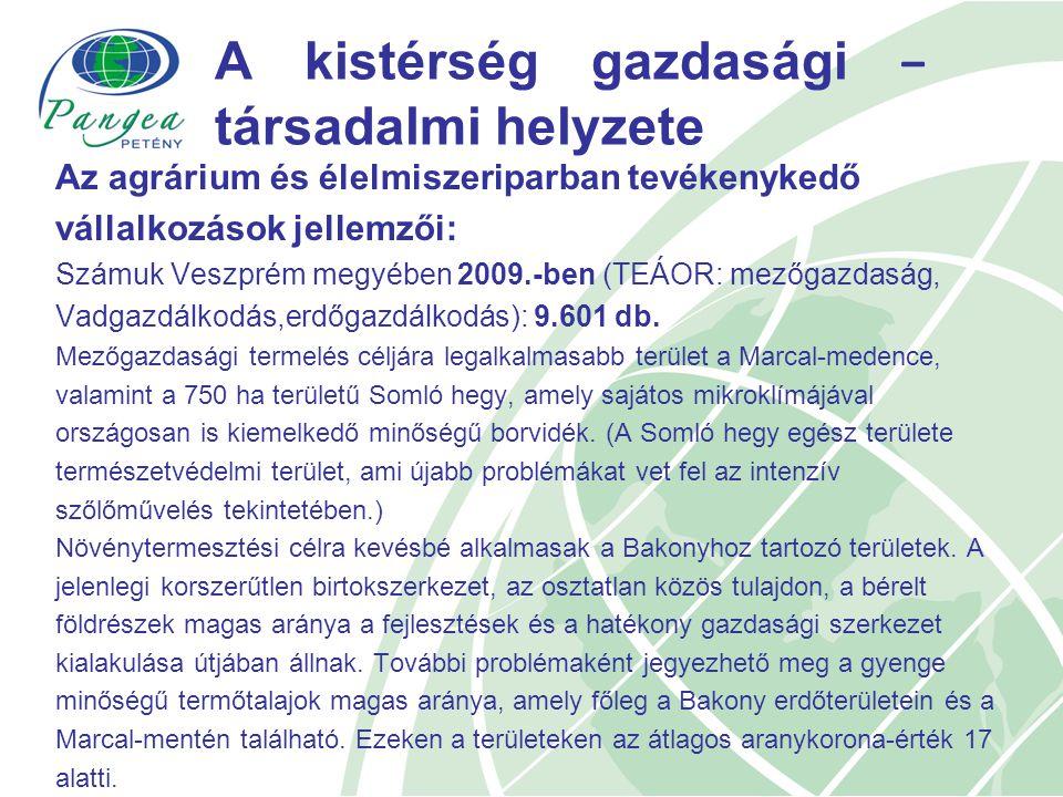 A kistérség gazdasági − társadalmi helyzete Az agrárium és élelmiszeriparban tevékenykedő vállalkozások jellemzői: Számuk Veszprém megyében 2009.-ben (TEÁOR: mezőgazdaság, Vadgazdálkodás,erdőgazdálkodás): 9.601 db.