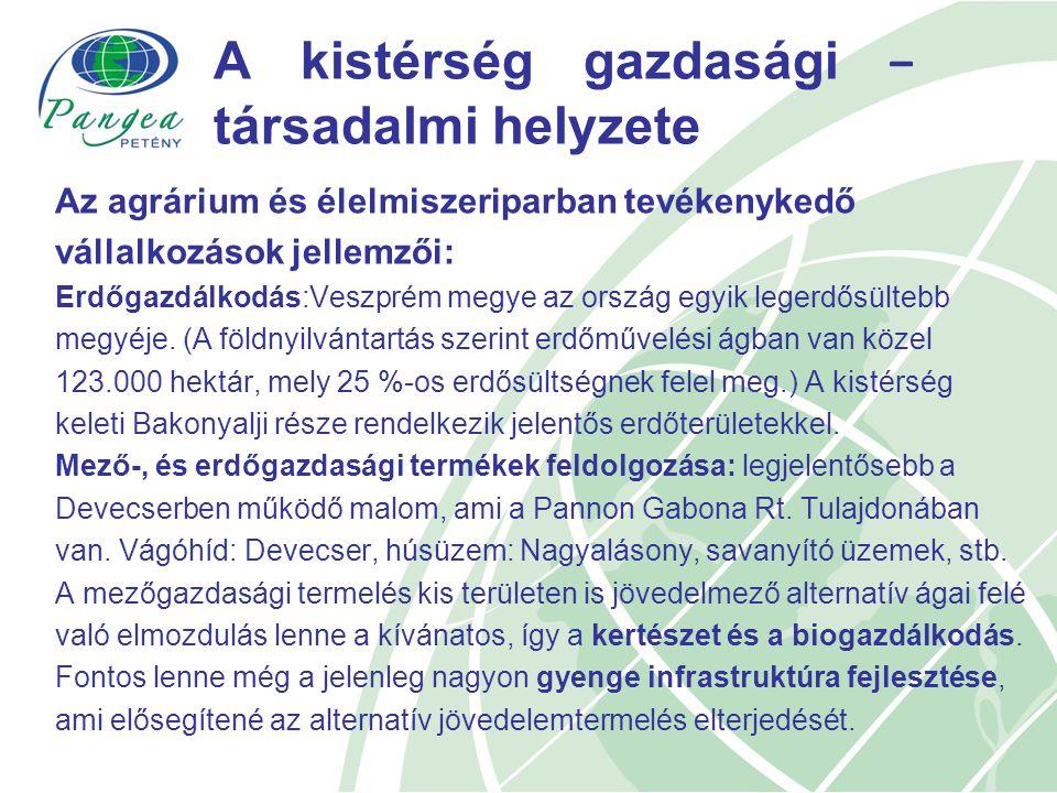 A kistérség gazdasági − társadalmi helyzete Az agrárium és élelmiszeriparban tevékenykedő vállalkozások jellemzői: Erdőgazdálkodás:Veszprém megye az ország egyik legerdősültebb megyéje.