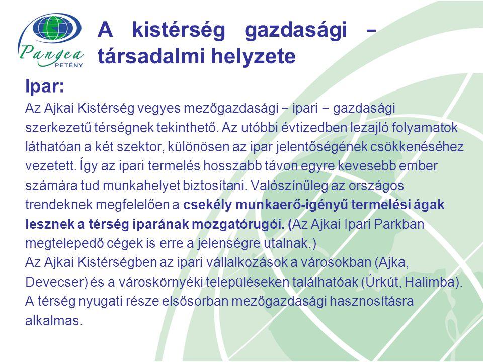 A kistérség gazdasági − társadalmi helyzete Ipar: Az Ajkai Kistérség vegyes mezőgazdasági − ipari − gazdasági szerkezetű térségnek tekinthető.