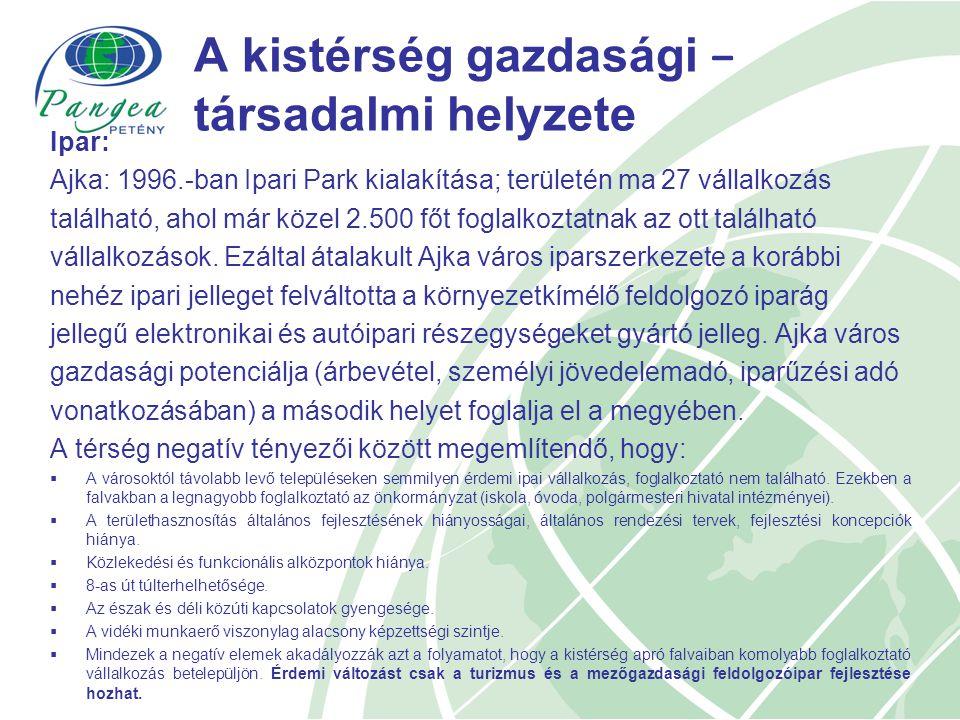 A kistérség gazdasági − társadalmi helyzete Ipar: Ajka: 1996.-ban Ipari Park kialakítása; területén ma 27 vállalkozás található, ahol már közel 2.500 főt foglalkoztatnak az ott található vállalkozások.