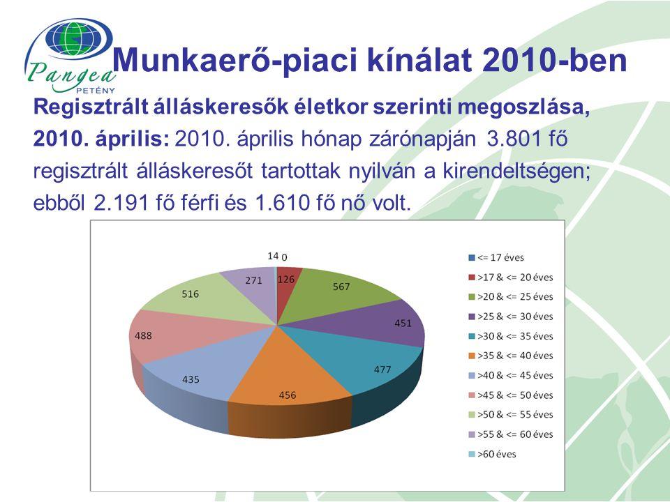 Munkaerő-piaci kínálat 2010-ben Regisztrált álláskeresők életkor szerinti megoszlása, 2010.