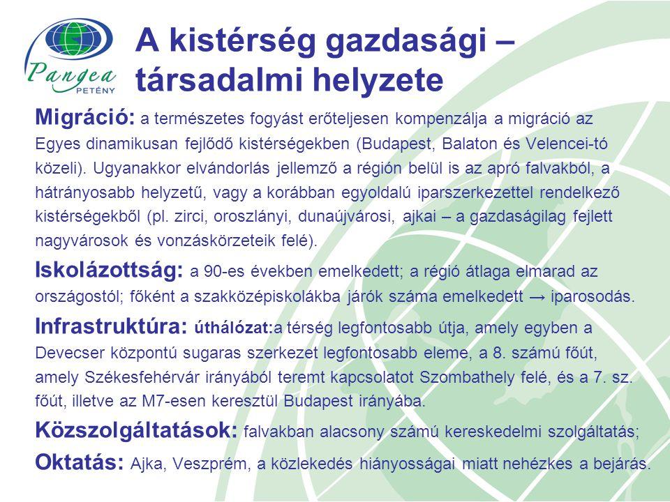 A kistérség gazdasági – társadalmi helyzete Migráció: a természetes fogyást erőteljesen kompenzálja a migráció az Egyes dinamikusan fejlődő kistérségekben (Budapest, Balaton és Velencei-tó közeli).