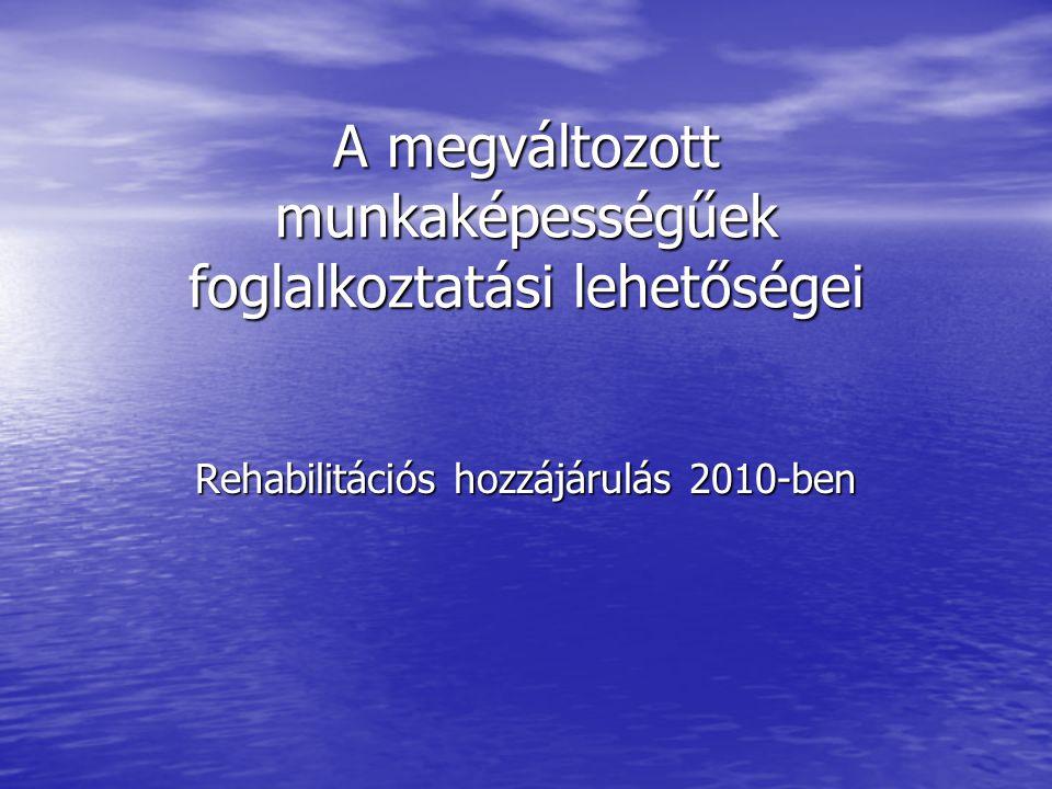 A megváltozott munkaképességűek foglalkoztatási lehetőségei Rehabilitációs hozzájárulás 2010-ben