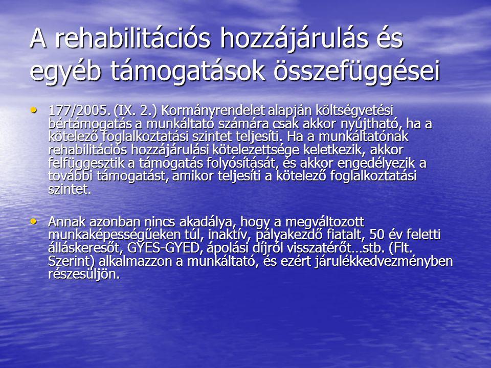 A rehabilitációs hozzájárulás és egyéb támogatások összefüggései 177/2005.