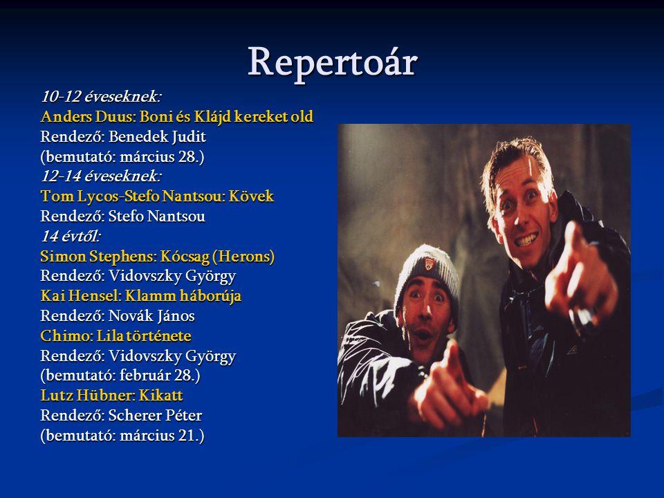 Repertoár 10-12 éveseknek: Anders Duus: Boni és Klájd kereket old Rendező: Benedek Judit (bemutató: március 28.) 12-14 éveseknek: Tom Lycos-Stefo Nant