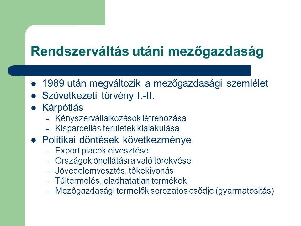 Rendszerváltás utáni mezőgazdaság 1989 után megváltozik a mezőgazdasági szemlélet Szövetkezeti törvény I.-II.