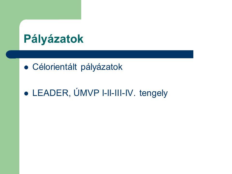 Pályázatok Célorientált pályázatok LEADER, ÚMVP I-II-III-IV. tengely