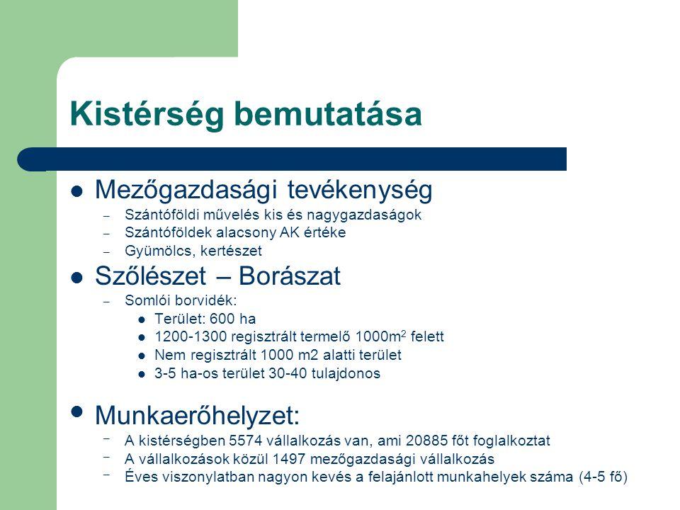 Kistérség bemutatása Mezőgazdasági tevékenység – Szántóföldi művelés kis és nagygazdaságok – Szántóföldek alacsony AK értéke – Gyümölcs, kertészet Szőlészet – Borászat – Somlói borvidék: Terület: 600 ha 1200-1300 regisztrált termelő 1000m 2 felett Nem regisztrált 1000 m2 alatti terület 3-5 ha-os terület 30-40 tulajdonos Munkaerőhelyzet: – A kistérségben 5574 vállalkozás van, ami 20885 főt foglalkoztat – A vállalkozások közül 1497 mezőgazdasági vállalkozás – Éves viszonylatban nagyon kevés a felajánlott munkahelyek száma (4-5 fő)