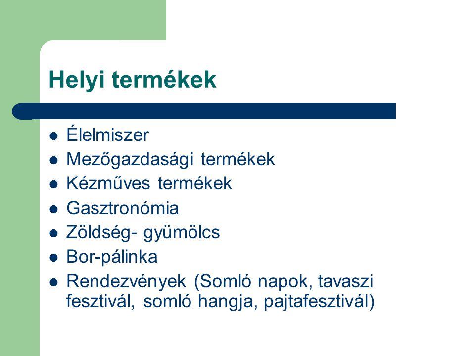Helyi termékek Élelmiszer Mezőgazdasági termékek Kézműves termékek Gasztronómia Zöldség- gyümölcs Bor-pálinka Rendezvények (Somló napok, tavaszi fesztivál, somló hangja, pajtafesztivál)