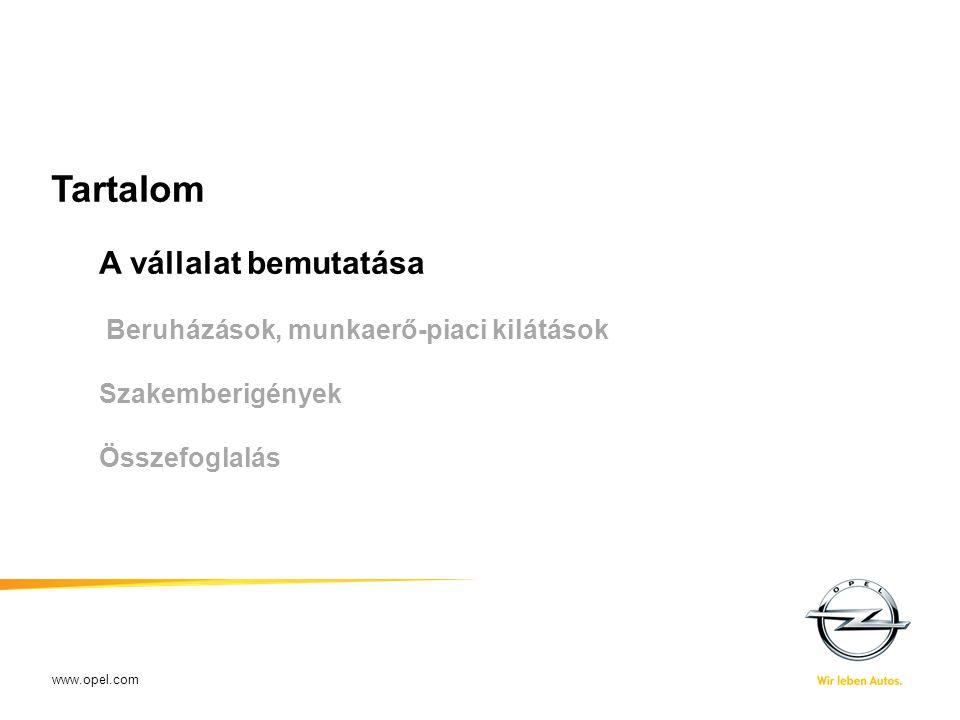 www.opel.com Tartalom A vállalat bemutatása Beruházások, munkaerő-piaci kilátások Szakemberigények Összefoglalás XX-XX-2009Name of presenter - short t