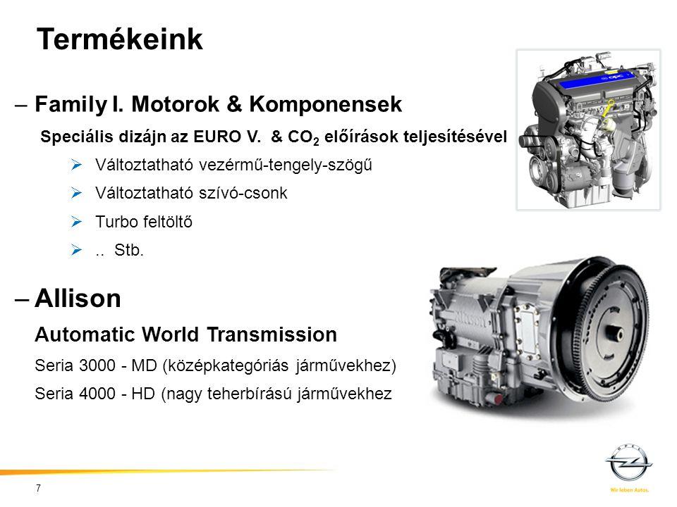 –Family I. Motorok & Komponensek Speciális dizájn az EURO V. & CO 2 előírások teljesítésével  Változtatható vezérmű-tengely-szögű  Változtatható szí
