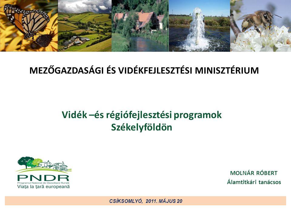 MEZŐGAZDASÁGI ÉS VIDÉKFEJLESZTÉSI MINISZTÉRIUM o A vidékfejlesztési program biztosítja Romániának a 2007-2013-as id ő szakra az Európai Mez ő gazdasági Alapból (FEADR), a vidékfejlesztésre vonatkozó forrásokhoz való hozzáférést o A vidék és régió fejlesztést csakis együtt lehet elképzelni, hiszen Románia területének 87,1% -ka rurális környezet, amelyen az ország összlakosságának 45,1% -ka él (megközelít ő leg 9,7 millió állampolgár) o A program célja az élhet ő, megfelel ő infrastrukturális háttérrel rendelkez ő, munkát és megélhetést biztosító vidéki térségek kialakítása, fenntartása, valamint – a más EU-s országokkal szemben –Románia társadalmi-gazdasági egyenl ő tlenségeinek, hátrányainak csökkentése o 2007-2013 között a FEADR 8.124,20 millió euró s pénzügyi támogatást biztosít a Nemzeti Vidékfejlesztési Programnak, amelyhez az állami költségvetésb ő l még 1.972,88 millió euró is hozzájárul CSÍKSOMLYÓ, 2011.