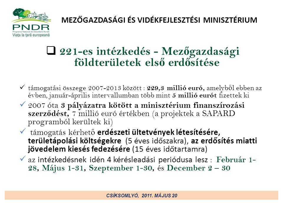 MEZŐGAZDASÁGI ÉS VIDÉKFEJLESZTÉSI MINISZTÉRIUM  221-es intézkedés - Mez ő gazdasági földterületek els ő erd ő sítése támogatási összege 2007-2013 között : 229,3 millió euró, amelyb ő l ebben az évben, január-április intervallumban több mint 5 millió eurót fizettek ki 2007 óta 3 pályázatra kötött a minisztérium finanszírozási szerz ő dést, 7 millió euró értékben (a projektek a SAPARD programból kerültek ki) támogatás kérhet ő erdészeti ültetvények létesítésére, területápolási költségekre (5 éves időszakra), az erdősítés miatti jövedelem kiesés fedezésére (15 éves időtartamra) az intézkedésnek idén 4 kérésleadási periódusa lesz : Február 1- 28, Május 1-31, Szeptember 1-30, és December 2 – 30 CSÍKSOMLYÓ, 2011.