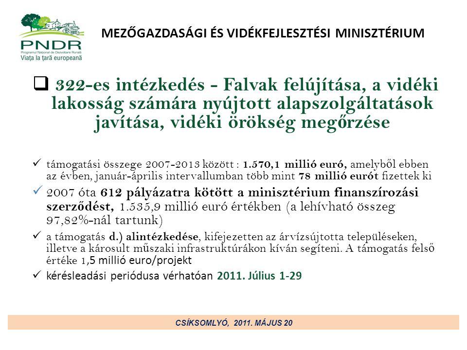 MEZŐGAZDASÁGI ÉS VIDÉKFEJLESZTÉSI MINISZTÉRIUM  322-es intézkedés - Falvak felújítása, a vidéki lakosság számára nyújtott alapszolgáltatások javítása, vidéki örökség meg ő rzése támogatási összege 2007-2013 között : 1.570,1 millió euró, amelyb ő l ebben az évben, január-április intervallumban több mint 78 millió eurót fizettek ki 2007 óta 612 pályázatra kötött a minisztérium finanszírozási szerz ő dést, 1.535,9 millió euró értékben (a lehívható összeg 97,82%-nál tartunk) a támogatás d.) alintézkedése, kifejezetten az árvízsújtotta településeken, illetve a károsult m ű szaki infrastruktúrákon kíván segíteni.