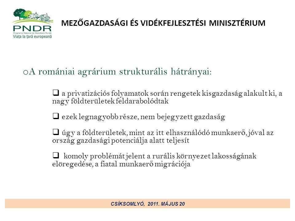 MEZŐGAZDASÁGI ÉS VIDÉKFEJLESZTÉSI MINISZTÉRIUM o A romániai agrárium er ő sségei:  dinamikus fellendülés az agroökológiai gazdálkodás terén  Európában Románia az egyik legfontosabb akácméztermel ő ország, a méhészeti ágazat rendkívül hatékony a nemzetközi piacon  számos megújuló energiaforrást megjelenése (energianövények, biogáz)  fejlett vízgazdálkodás, akvakultúra  a jó min ő ség ű, mez ő gazdaságra alkalmas területek aránya nagy CSÍKSOMLYÓ, 2011.