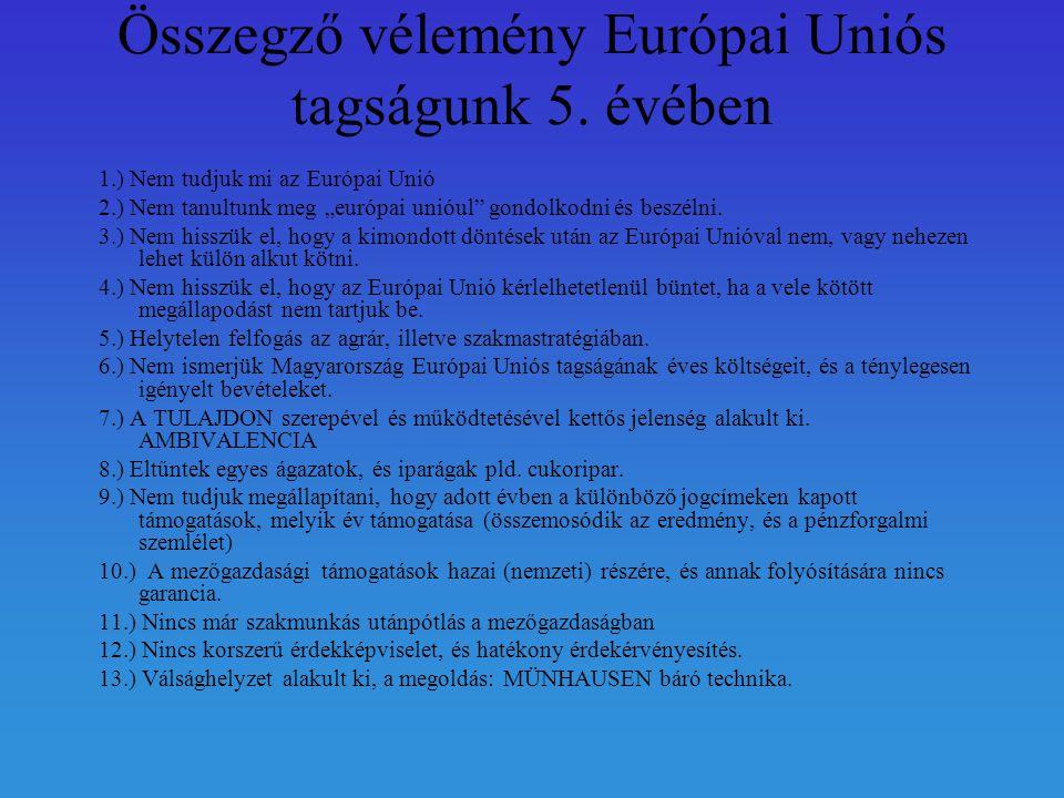 Összegző vélemény Európai Uniós tagságunk 5.