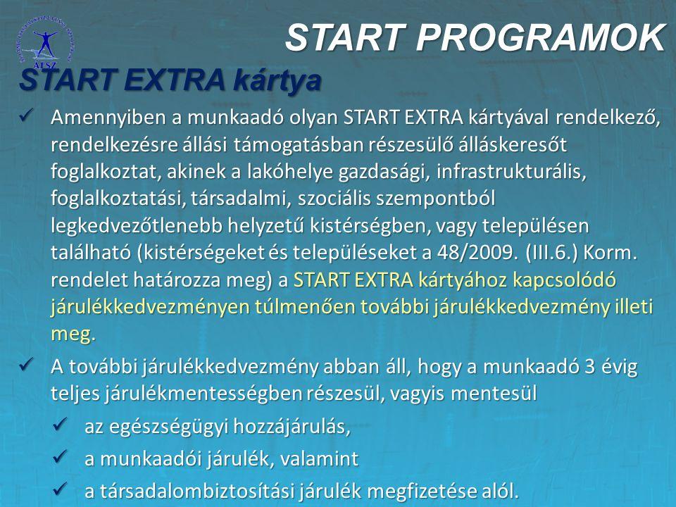 START PROGRAMOK START EXTRA kártya Amennyiben a munkaadó olyan START EXTRA kártyával rendelkező, rendelkezésre állási támogatásban részesülő álláskere