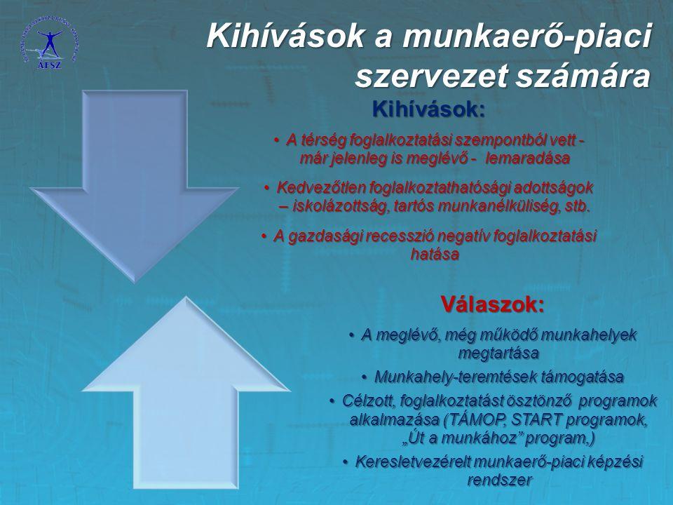 Kihívások: A térség foglalkoztatási szempontból vett - már jelenleg is meglévő - lemaradásaA térség foglalkoztatási szempontból vett - már jelenleg is