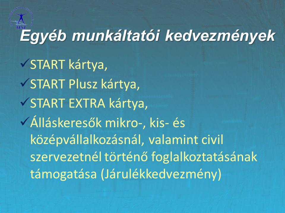 START kártya, START Plusz kártya, START EXTRA kártya, Álláskeresők mikro-, kis- és középvállalkozásnál, valamint civil szervezetnél történő foglalkozt