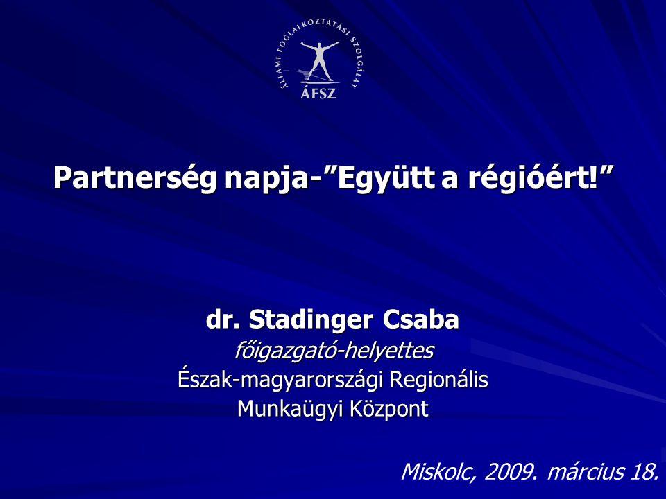 """Partnerség napja-""""Együtt a régióért!"""" dr. Stadinger Csaba főigazgató-helyettes Észak-magyarországi Regionális Munkaügyi Központ Miskolc, 2009. március"""