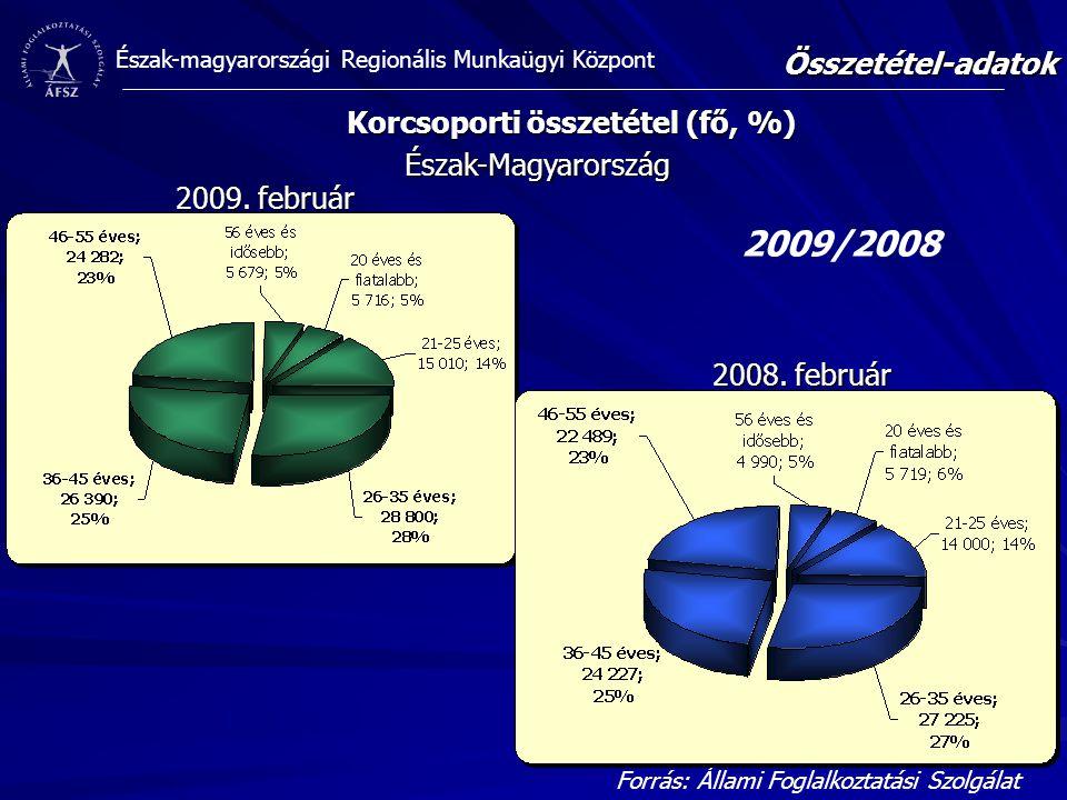 Észak-magyarországi Regionális Munkaügyi Központ Észak-Magyarország Korcsoporti összetétel (fő, %) Forrás: Állami Foglalkoztatási Szolgálat Összetétel-adatok 2009/2008 2009.