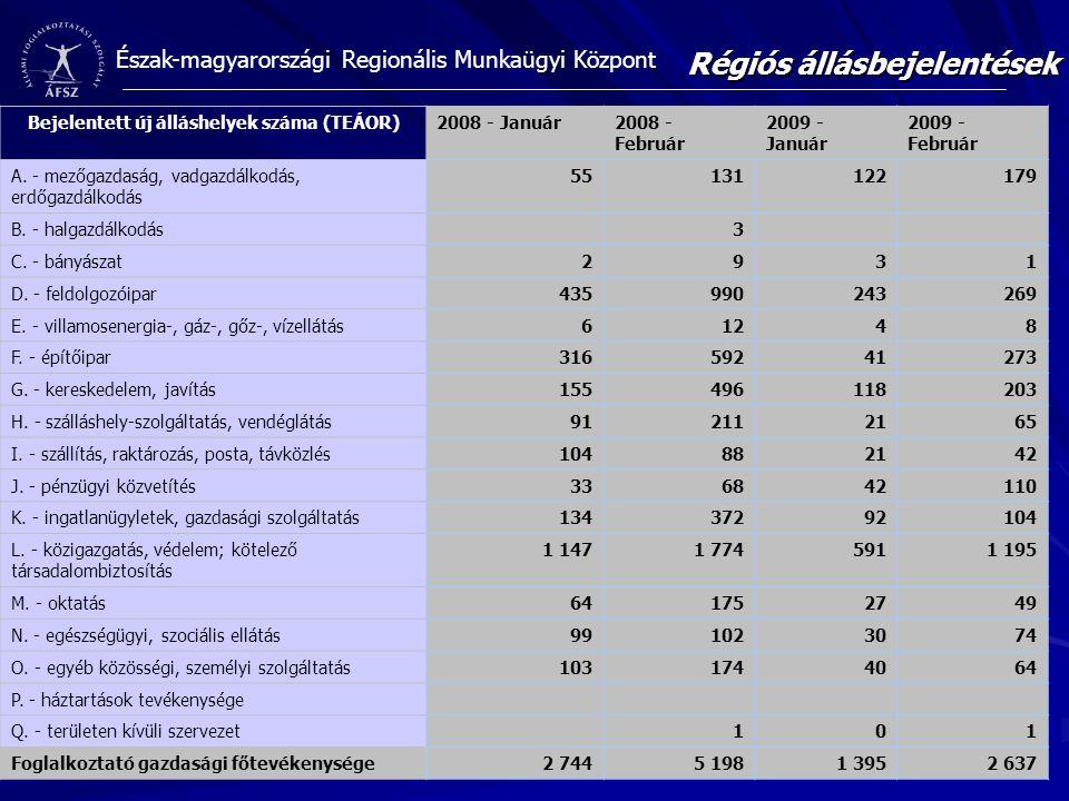 Észak-magyarországi Regionális Munkaügyi Központ Bejelentett új álláshelyek száma (TEÁOR)2008 - Január2008 - Február 2009 - Január 2009 - Február A. -