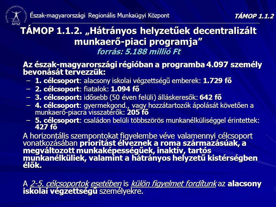 """Észak-magyarországi Regionális Munkaügyi Központ TÁMOP 1.1.2. """"Hátrányos helyzetűek decentralizált munkaerő-piaci programja"""" forrás: 5.188 millió Ft A"""