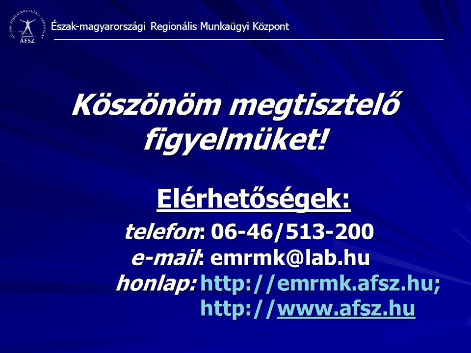 Észak-magyarországi Regionális Munkaügyi Központ Köszönöm megtisztelő figyelmüket! Elérhetőségek: telefon: 06-46/513-200 e-mail: emrmk@lab.hu honlap: