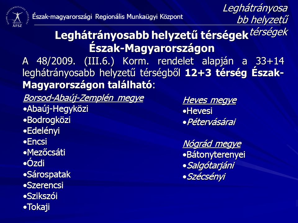 Észak-magyarországi Regionális Munkaügyi Központ A 48/2009. (III.6.) Korm. rendelet alapján a 33+14 leghátrányosabb helyzetű térségből 12+3 térség Ész