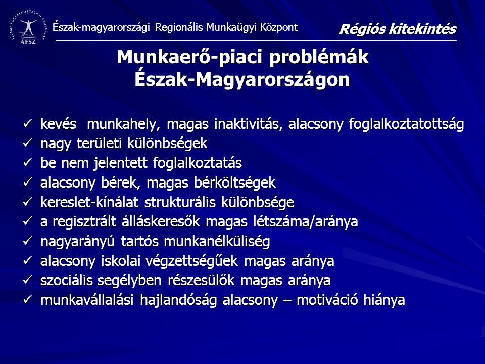 Észak-magyarországi Regionális Munkaügyi Központ Munkaerő-piaci problémák Észak-Magyarországon kevés munkahely, magas inaktivitás, alacsony foglalkoztatottság kevés munkahely, magas inaktivitás, alacsony foglalkoztatottság nagy területi különbségek nagy területi különbségek be nem jelentett foglalkoztatás be nem jelentett foglalkoztatás alacsony bérek, magas bérköltségek alacsony bérek, magas bérköltségek kereslet-kínálat strukturális különbsége kereslet-kínálat strukturális különbsége a regisztrált álláskeresők magas létszáma/aránya a regisztrált álláskeresők magas létszáma/aránya nagyarányú tartós munkanélküliség nagyarányú tartós munkanélküliség alacsony iskolai végzettségűek magas aránya alacsony iskolai végzettségűek magas aránya szociális segélyben részesülők magas aránya szociális segélyben részesülők magas aránya munkavállalási hajlandóság alacsony – motiváció hiánya munkavállalási hajlandóság alacsony – motiváció hiánya Régiós kitekintés