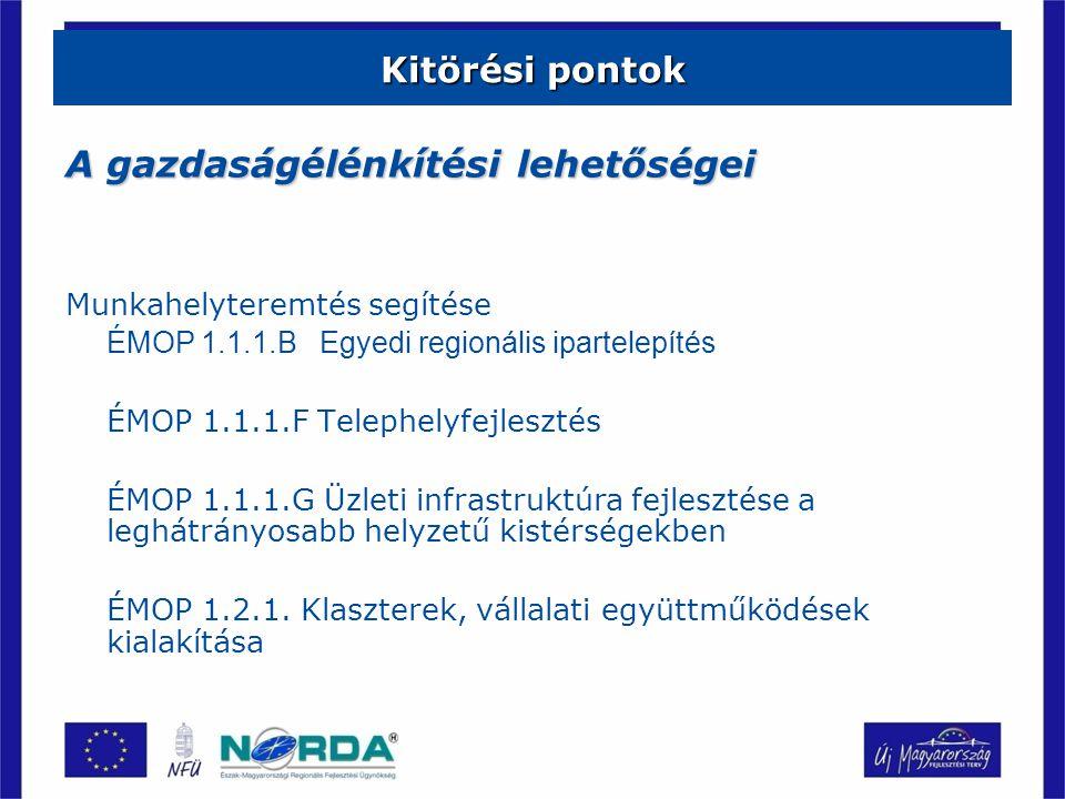 Kitörési pontok A gazdaságélénkítési lehetőségei Munkahelyteremtés segítése ÉMOP 1.1.1.B Egyedi regionális ipartelepítés ÉMOP 1.1.1.F Telephelyfejlesztés ÉMOP 1.1.1.G Üzleti infrastruktúra fejlesztése a leghátrányosabb helyzetű kistérségekben ÉMOP 1.2.1.