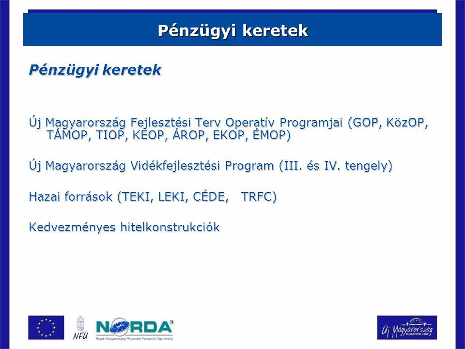 Pénzügyi keretek Új Magyarország Fejlesztési Terv Operatív Programjai (GOP, KözOP, TÁMOP, TIOP, KEOP, ÁROP, EKOP, ÉMOP) Új Magyarország Vidékfejlesztési Program (III.