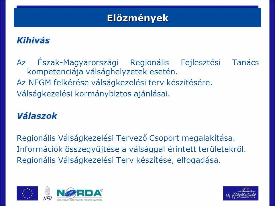Előzmények Kihívás Az Észak-Magyarországi Regionális Fejlesztési Tanács kompetenciája válsághelyzetek esetén.