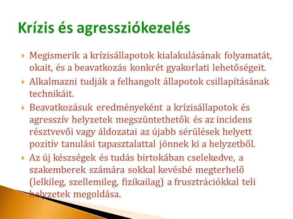  Megismerik a krízisállapotok kialakulásának folyamatát, okait, és a beavatkozás konkrét gyakorlati lehetőségeit.